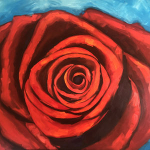 Large red rose oil painting
