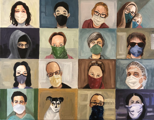 Photo of 15 people and 1 dog wearing masks